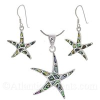 Sterling Silver Starfish Necklace and Earring Set with Abalone Inlay