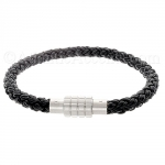 0710186 Mens Jewelry by AAGAARD Black Braided Leather Bracelet