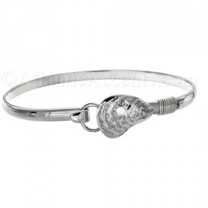 Sterling Silver Oyster Shell Hook Bangle Bracelet - 4MM