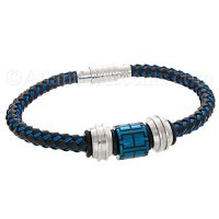 Mens Jewelry by AAGAARD Black & Blue Leather Bracelet / Bead Set - 16