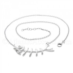 Sterling Silver Fish Bone Necklace & Clear CZ Eye - Adjustable Length