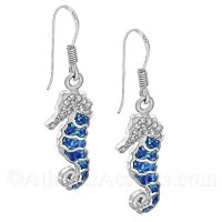 Sterling Silver Sea Horse Dangle Earrings with Opal Inlay & Clear CZ