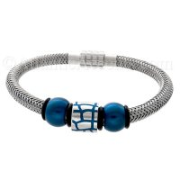 Mens Jewelry by AAGAARD Steel and Blue Charm Bracelet / Link Set - 28
