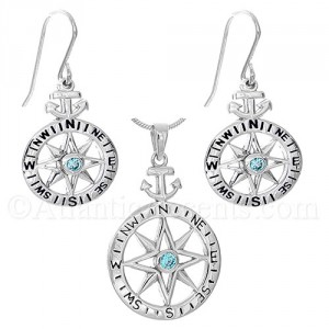 Sterling Silver Compass Rose with Anchor Necklace and Earrings Set