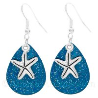 Starfish Charm on a Blue Sparkle Fishing Lure Dangle Earrings