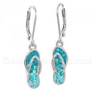 Sterling Silver Flip Flop Dangle Earrings with Swarovski Crystals