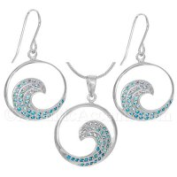 Sterling Silver Medium Wave Necklace and Earrings Set w Blue Crystals