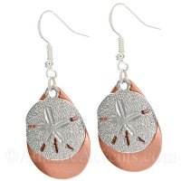 Sand Dollar Charm on a Copper Fishing Lure Dangle Earrings