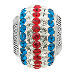 Lovelinks Crystal Ball Bead (Charm) - Flag Stripes