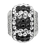 Lovelinks Crystal Ball Bead (Charm) - Black / Clear Circles