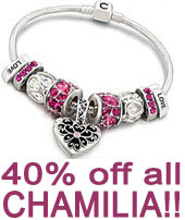 Closeout Clearance 40% off all Chamilia Jewelry Sale