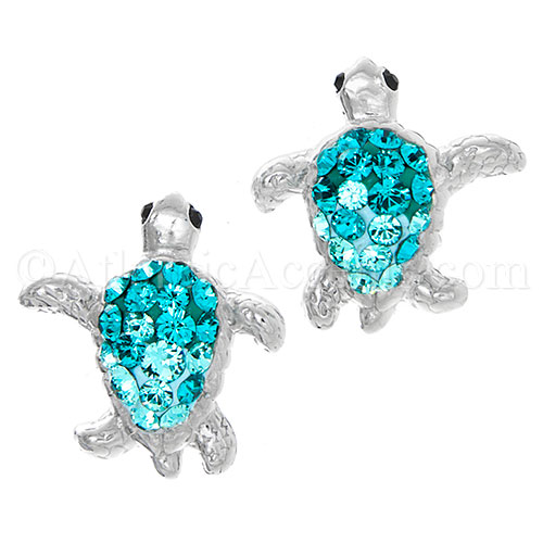 Sterling Silver Aqua Swarovski Sea Turtle Post Earrings
