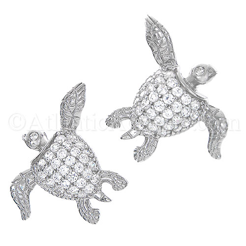 Sterling Silver Sea Turtle Post Earrings with Clear CZ Inlay