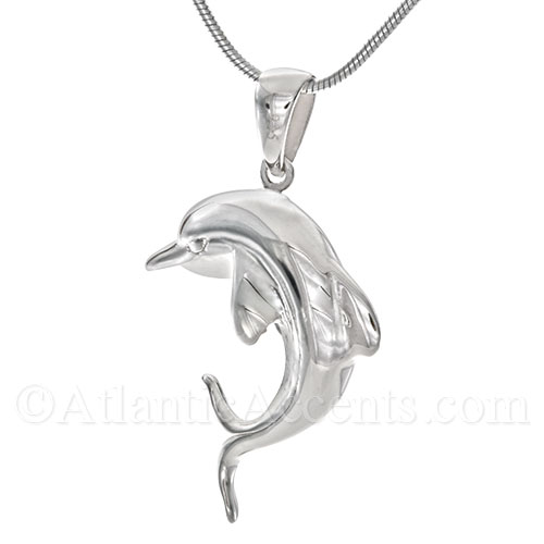 Sterling Silver Double Sided Dolphin Pendant