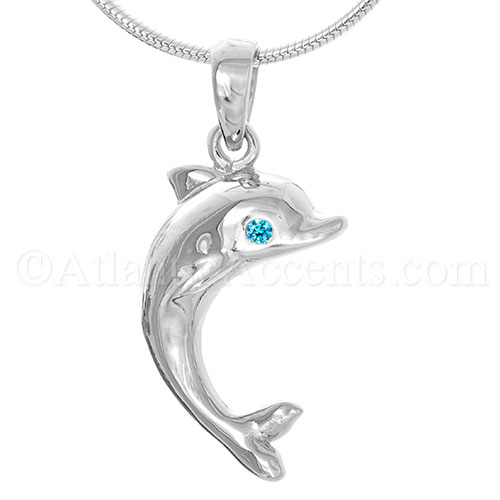 Sterling Silver Dolphin Necklace Pendant with Blue CZ Eyes