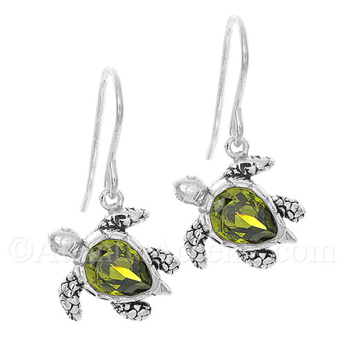 Sterling Silver Green Swarovski Sea Turtle Dangle Earrings - Click Image to Close