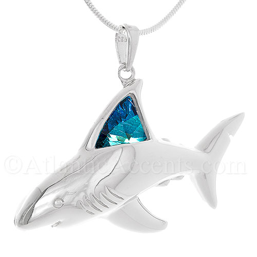 7495 sterling silver great white shark pendant with blue sterling silver great white shark pendant with blue swarovski crystal aloadofball Gallery