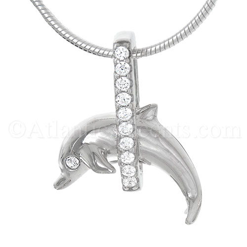 Sterling Silver Dolphin Jumping Through Clear CZ Hoop Necklace Pendant