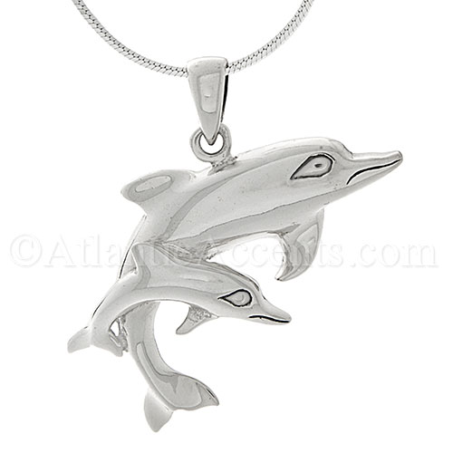 Sterling Silver Mother Dolphin and Calf Necklace Pendant