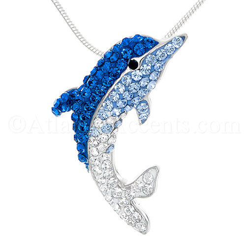 Sterling Silver Dolphin Necklace Pendant with Multi Swarovski Crystals