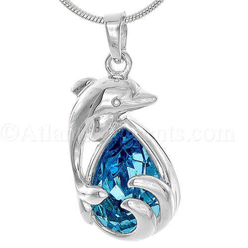 Sterling Silver Dolphin Jumping Over Wave Necklace with Blue Crystal