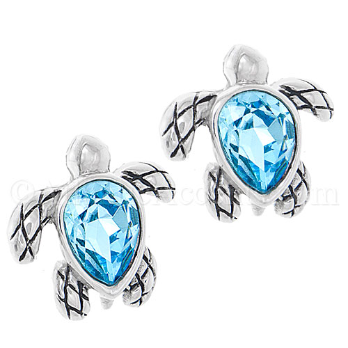 Sterling Silver Sea Turtle Post Earrings with Blue Swarovski Crystal