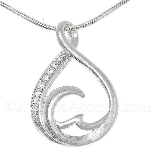 Sterling Silver Teardrop Wave Necklace Pendant with Clear CZ Crystals