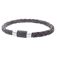 0710140 Mens Jewelry by AAGAARD Brown Braided Leather Bracelet