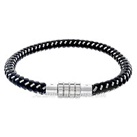 0710185 Mens Jewelry by AAGAARD Black Braided Leather Bracelet