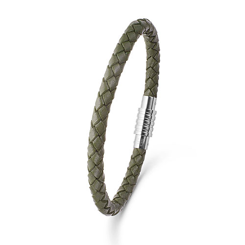 0710143 Mens Jewelry by AAGAARD Green Braided Leather Bracelet