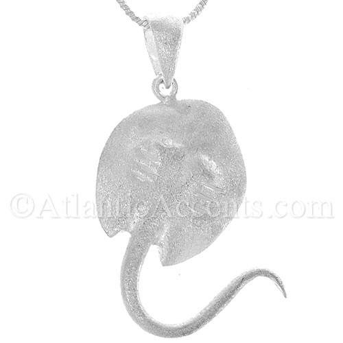 Sterling Silver Ray Necklace Pendant With Matte Finish