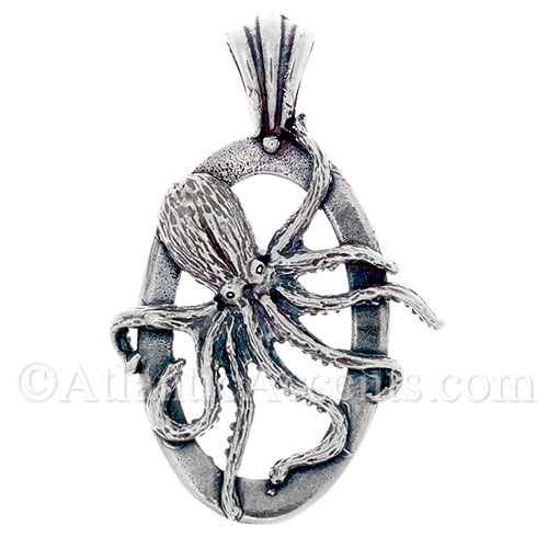Sterling Silver Octopus Necklace Pendant