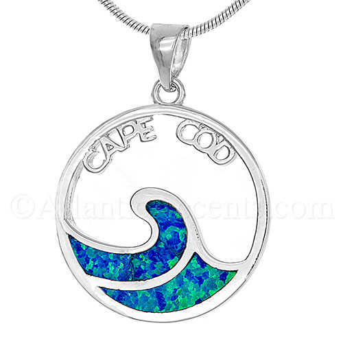 Sterling Silver Cape Cod Ocean Wave Pendant Necklace with Opal Inlay