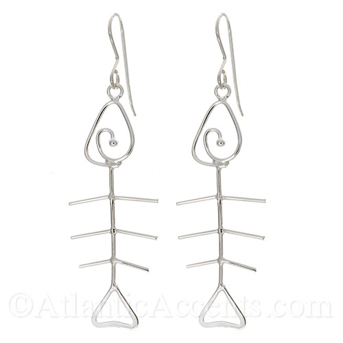 Sterling Silver Wire Fish Bone Dangle Earrings