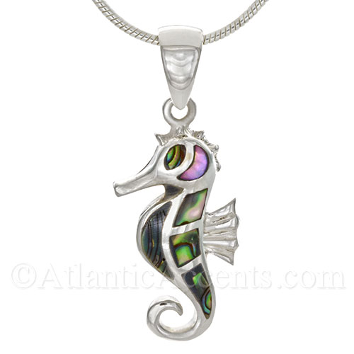 Sterling Silver Sea Horse Necklace Pendant with Abalone Inlay