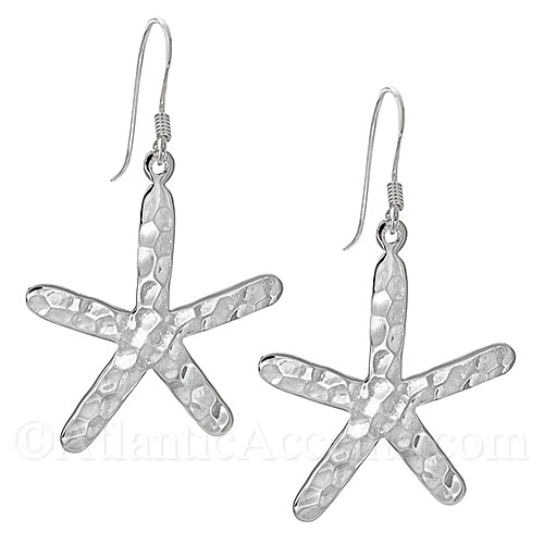 Sterling Silver Hammered Starfish Dangle Earrings