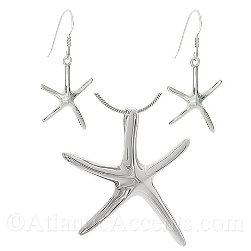 Sterling Silver Dancing Starfish Slide Necklace and Earrings Set