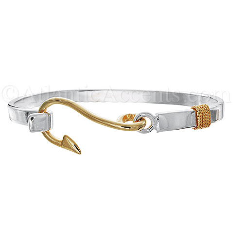 Silver and Gold 2-Tone Fish Hook Bangle Bracelet - 5MM