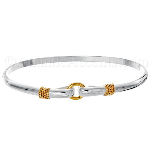 Silver and Gold 2-Tone Porthole Hook Bangle Bracelet - 4MM