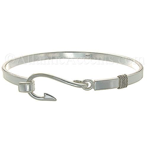 Sterling Silver Fish Hook Bangle Bracelet 5mm