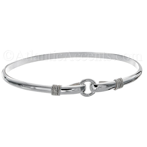 Sterling Silver Porthole Hook Bangle Bracelet - 4MM