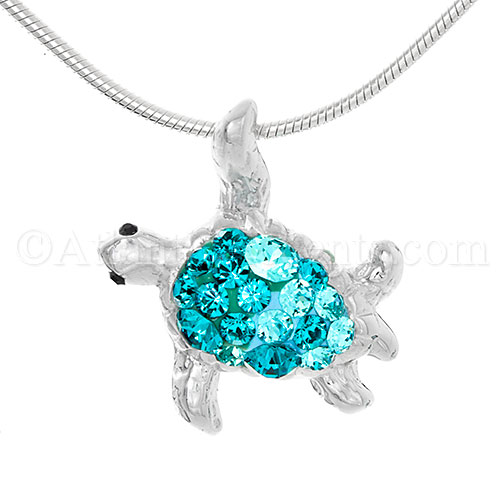 Sterling Silver Sea Turtle Pendant with Multicolor Aqua Swarovski