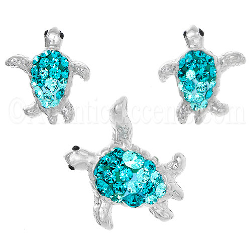 Sterling Silver Aqua Swarovski Sea Turtle Necklace & Earrings Set