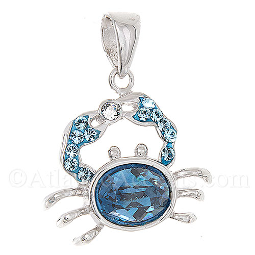Sterling Silver Crab Necklace Pendant with Blue Swarovski Body