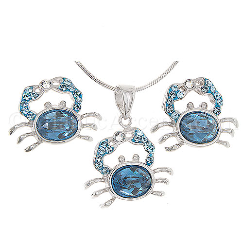 Sterling Silver Crab with Blue Swarovski Body Necklace and Earring Set