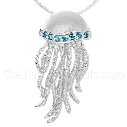 Sterling Silver Jellyfish Necklace Pendant with Blue CZ Crystals