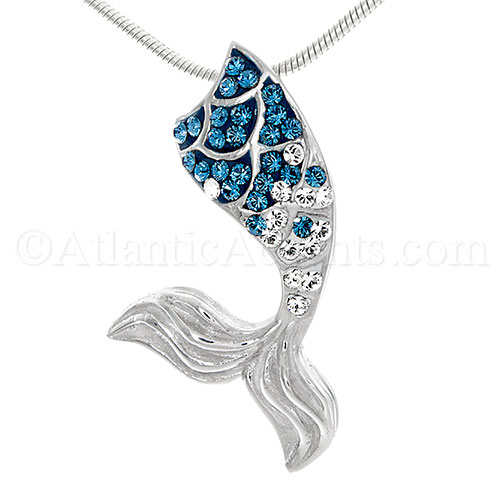 Sterling Silver Mermaid Tail Pendant with Blue Swarovski Crystal Inlay