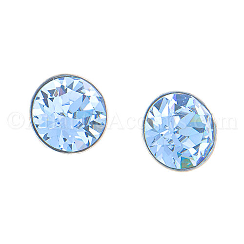 Sterling Silver Blue Swarovski Post Earrings