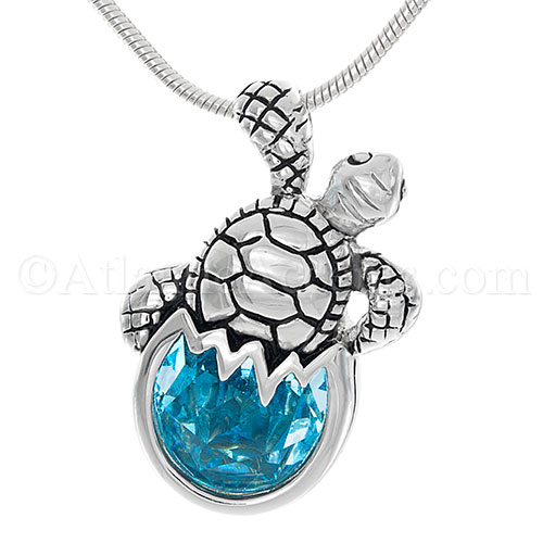 Sterling Silver Blue Swarovski Sea Turtle Hatchling Pendant