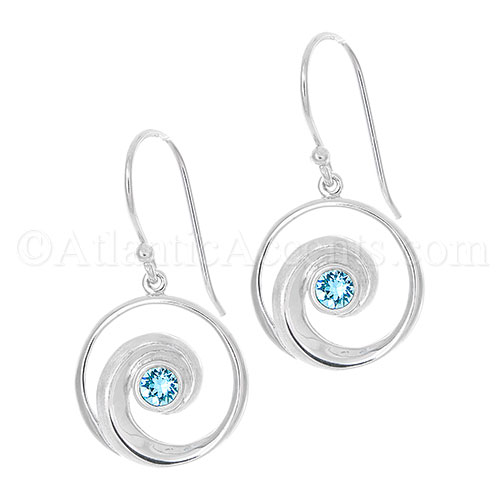 Sterling Silver Wave Dangle Earrings with Ocean Blue Swarovski Crystal